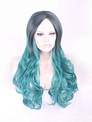 Lolita Synthetic Wig Black Dark Green Gradient Long Length Body Wave Japanese Harajuku Cosplay Style Wigs