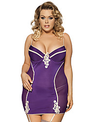 Women Elegant Purple Stitching  Color Transparent Laceharnesses Gauze Plump Large Size Lingerie