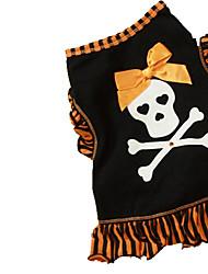 Gatos / Perros Disfraces / Camiseta Negro / Dorado Verano / Primavera/Otoño Lazo / Cráneos Cosplay / Halloween, Dog Clothes / Dog