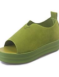 Женская обувь пу летние клинья сандалии случайные плоский каблук другие черный / зеленый / белый
