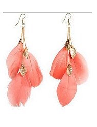 Drop Earrings Fabric Alloy Fashion Flower Leaf Feather Black Rose Red Blue Pink Jewelry Party Daily 1 pair
