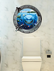 3D Waterproof Cartoon Underwater World Shark 3D Wall Stickers Fashion Bathroom Wall Decals