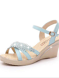 Women's Shoes Patent Leather / Glitter Wedge Heel Peep Toe / Slingback Sandals Dress / Casual Blue / Pink / Beige