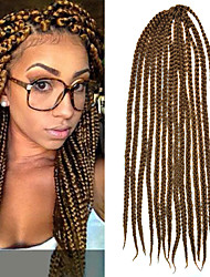"Light Brown Senegal Crochet Twist Large Box Braids 24"" Kanekalon 3 Strands 100g Hair Braids Free Crochet Hook"