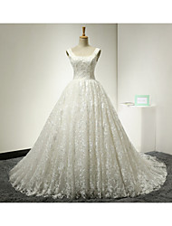 Ball Gown Wedding Dress Court Train Square Lace / Tulle with Lace