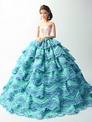 Праздники и вечера Платья Для Кукла Барби Небесно-голубой Платья