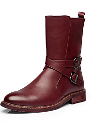 Men's Boots Winter Combat Boots / Round Toe Leather Casual Flat Heel Others Black / Burgundy Others