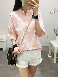 Women's Casual/Daily Cute Summer Blouse,Floral Crew Neck Short Sleeve Pink / White / Green Cotton Thin