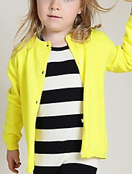 Girl's Casual/Daily Solid Sweater & Cardigan,Cotton Spring / Fall Blue / Pink / Red / Yellow / Gray