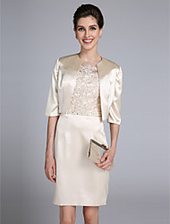 Lanting Bride® Sheath / Column Mother of the Bride Dress Knee-length Half Sleeve Satin with Appliques / Beading