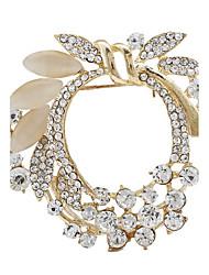 Fashion Hot Sale Gold Rhinestone Garland Flower Bouquet Brooches for Women