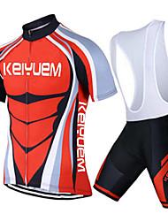 KEIYUEM® Fahrradtrikot mit Trägerhosen Unisex Kurze Ärmel FahhradAtmungsaktiv / Rasche Trocknung / Staubdicht / tragbar / Tasche auf der