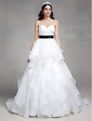 LAN TING BRIDE A-line Wedding Dress Simply Sublime Chapel Train Sweetheart Organza with Criss-Cross