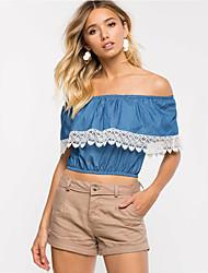 Damen Patchwork Street Schick Lässig/Alltäglich T-shirt,Bateau Sommer Kurzarm Blau Andere Mittel