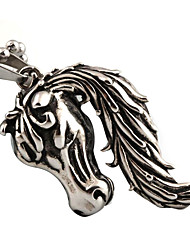 homens e mulheres do punk retro de titânio colar de pingente de cavalo
