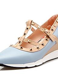 Calçados Femininos-Saltos-Anabela / Saltos / Inovador / Bico Fino / Bico Fechado-Anabela-Preto / Azul / Rosa / Bege-Courino-Ar-Livre /