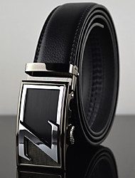 Men Z Latter Business Automatic Buckle Leather Wide Belt,Work / Casual