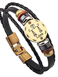 Lederen armbanden 1 stuks,Modieus Ronde vorm Zwart Leder Sieraden Gifts