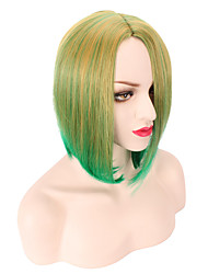 Light Green Color Ombre Short Natural Looking Daily Wearing Wigs Party Cosplay Charming Style Pink Color