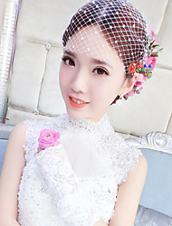 Women's Pearl Tulle Net Headpiece-Wedding Birdcage Veils 1 Piece