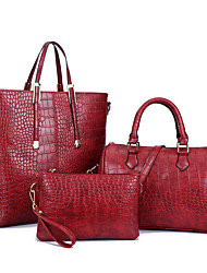 Women Bag Sets PU All Seasons Formal Casual Event/Party Wedding Office & Career Barrel Zipper Light Blue Deep Blue Red Silver Black