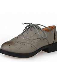 Women's Oxfords Fall Round Toe PU Casual Flat Heel Lace-up Black / Brown / Gray / Beige Others
