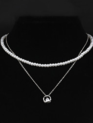 Double Strand Of Necklaces Women Jewelry Alloy With Zircon Pendant Imitation Pearl Necklace Wedding Party Daily Casual