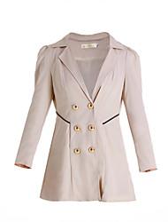 Women's Solid Spliced Button Design Notch Lapel Sheath Trench Coat