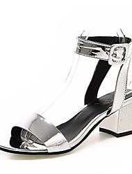 женская обувь лакированная кожа летом открытый носок сандалии партия&вечер / платье коренастый пятки bucklepurple / серебро /