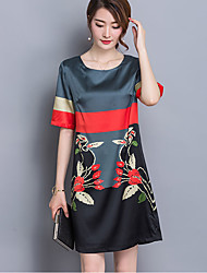 Women's Vintage Print Plus Size / Shift Dress,Round Neck Above Knee Rayon / Polyester