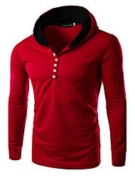 Sets Activewear Pour des hommes Manches longues Décontracté Couleur plaine Coton / Polyester