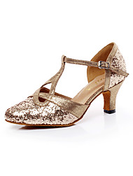 Women's Dance Shoes Sparkling Glitter Sparkling Glitter Latin / Salsa Sandals Chunky Heel Professional / Indoor Gold