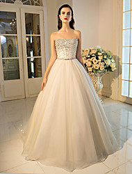 Ball Gown Strapless Floor Length Tulle Formal Evening Dress with Beading Crystal Detailing Sequins
