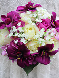 Wedding Flowers Free-form Roses / Lilies Bridal Bouquets Wedding Yellow / Pink / Green / Purple Satin