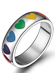 Unisex Rainbow Gay Pride Colorful Pattern Stainless Steel Band Ring