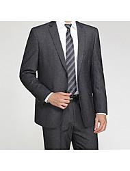 2017 costumes encoche coupe cintrée simple boutonnage-deux boutons en laine / coton solide 2 pièces droites claquaient