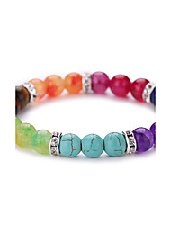 Colorful Natural Agate Buddha Beads Energy Stone Bracelet  #YMGS1004