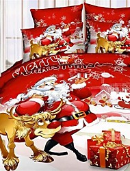 Duoma Christmas Presents New 3 D 13372 Active Santa Claus SeriesCotton Bedding Four Sets