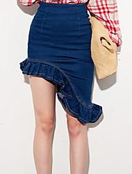 Women's Patchwork Blue Bodycon/Dovetail Denim Skirts,Sexy / Street chic Asymmetrical Cotton