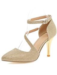 sapatos femininos pu saltos salto stiletto / saltos toe pontas de escritório&carreira / prata casual / ouro