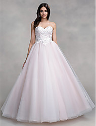 LAN TING BRIDE A-line Wedding Dress Wedding Dress in Color Floor-length Strapless Organza with Appliques
