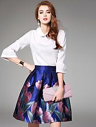 Ewheat® Women's Shirt Collar 3/4 Length Sleeve Above Knee Dress-H2375