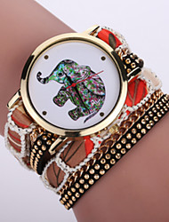 Women's Bohemian Style Fabric Band White Elephant Case Analog Quartz Layered Bracelet Fashion Watch