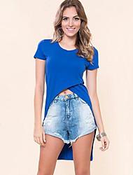 Tee-shirt Aux femmes,Couleur Pleine Sortie simple Eté Manches Courtes Col Arrondi Bleu / Blanc / Noir Polyester Moyen