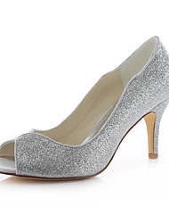 Women's Shoes Glitter Stiletto Heel Heels Sandals Wedding / Party & Evening / Dress Silver