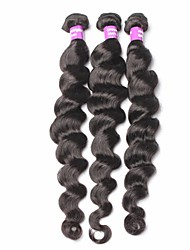 Indian Virgin Hair Loose Wave Unprocessed Human Hair Extensions 3Pcs Indian Loose Curly Hair Natural Black Hair Weaves