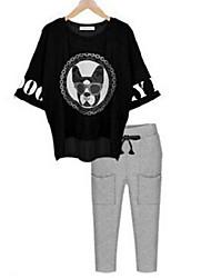 Damen Geometrisch Street Schick Lässig/Alltäglich T-shirt,Rundhalsausschnitt Sommer ¾-Arm Rot / Schwarz Polyester Undurchsichtig