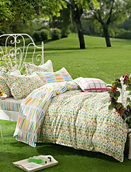Flowering Dream, Full Cotton Reactive Printing Pastoral Flowers Bedding Set 4PC, FULL Size