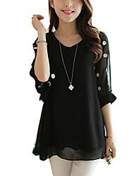 Women's Polka Dot Pink/Black Blouse, Plus Sizes V Neck Half Sleeve