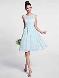 Lanting Bride® Knee-length Chiffon Bridesmaid Dress A-line Scoop with Draping / Ruching